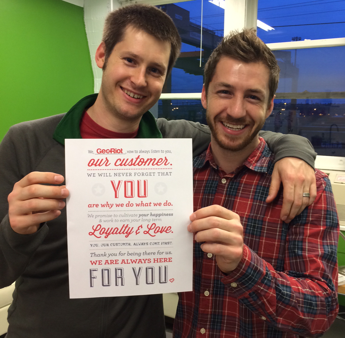 CEO Jesse and Director of Operations Cole proudly confessing their admiration for GeoRiot's clients