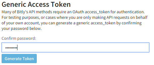Bitly Generate Access Token screenshot