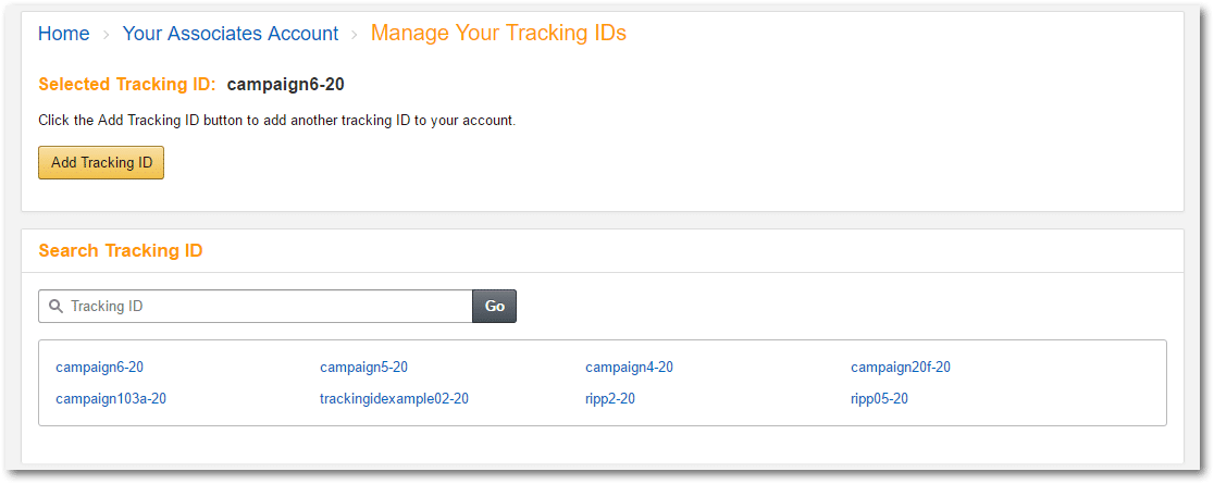 2016-07-28 21_25_03-Amazon.com Associates Central - Manage Your Tracking IDs