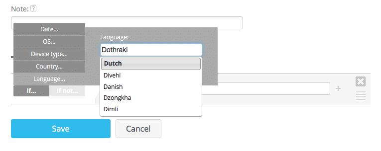 Advanced targeting by language