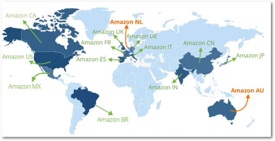 Amazon's 14 different global storefronts.