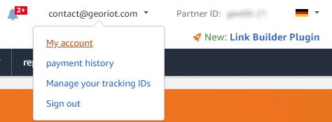 Locating the Settings button within the Amazon Affiliates UK program.