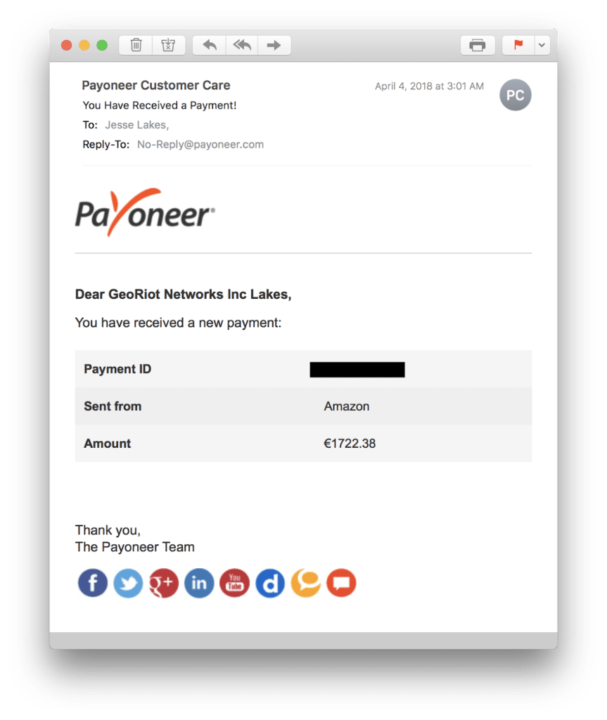 Email alert from Payoneer that you've been paid.