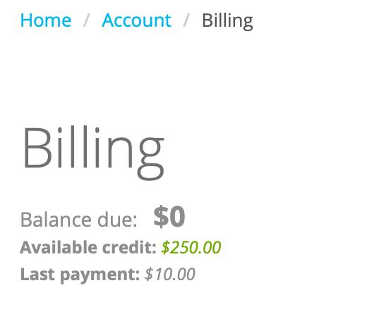Billing: Account Balance