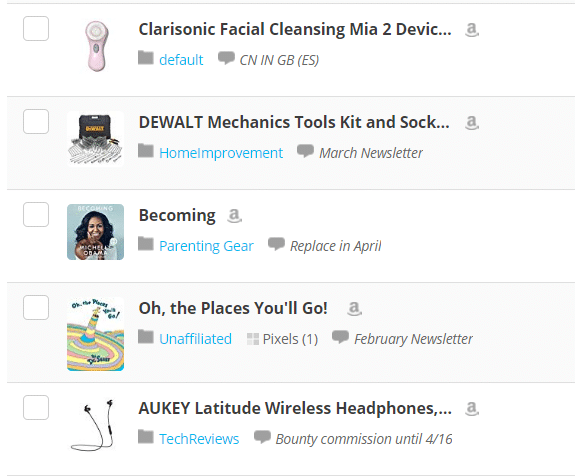 Screengrab of Items