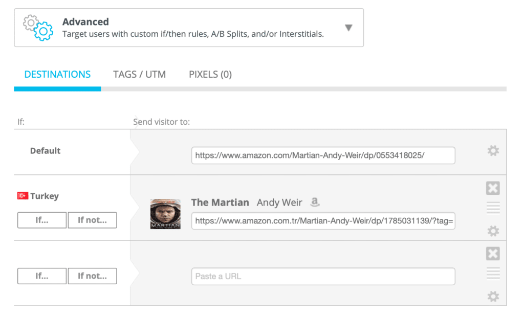 Advanced links feature