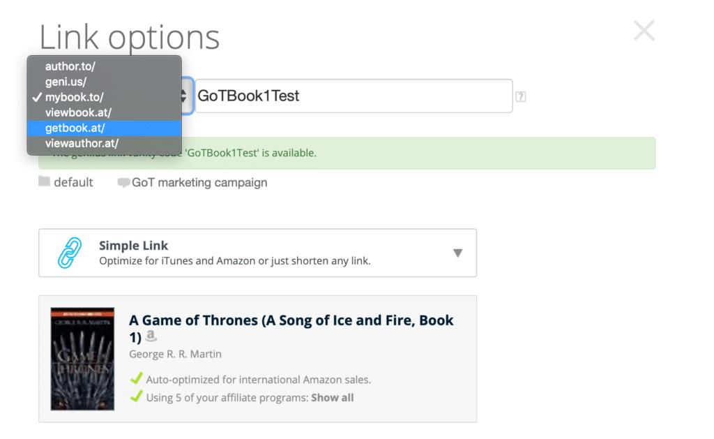 Link option Geniuslink dashboard