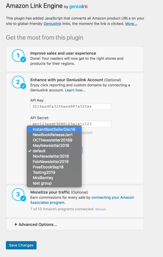 Amazon Link Engine group selection for more granular reporting