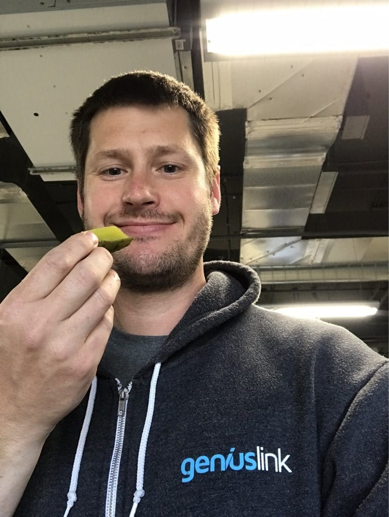 Jesse Lakes eating his Pickle