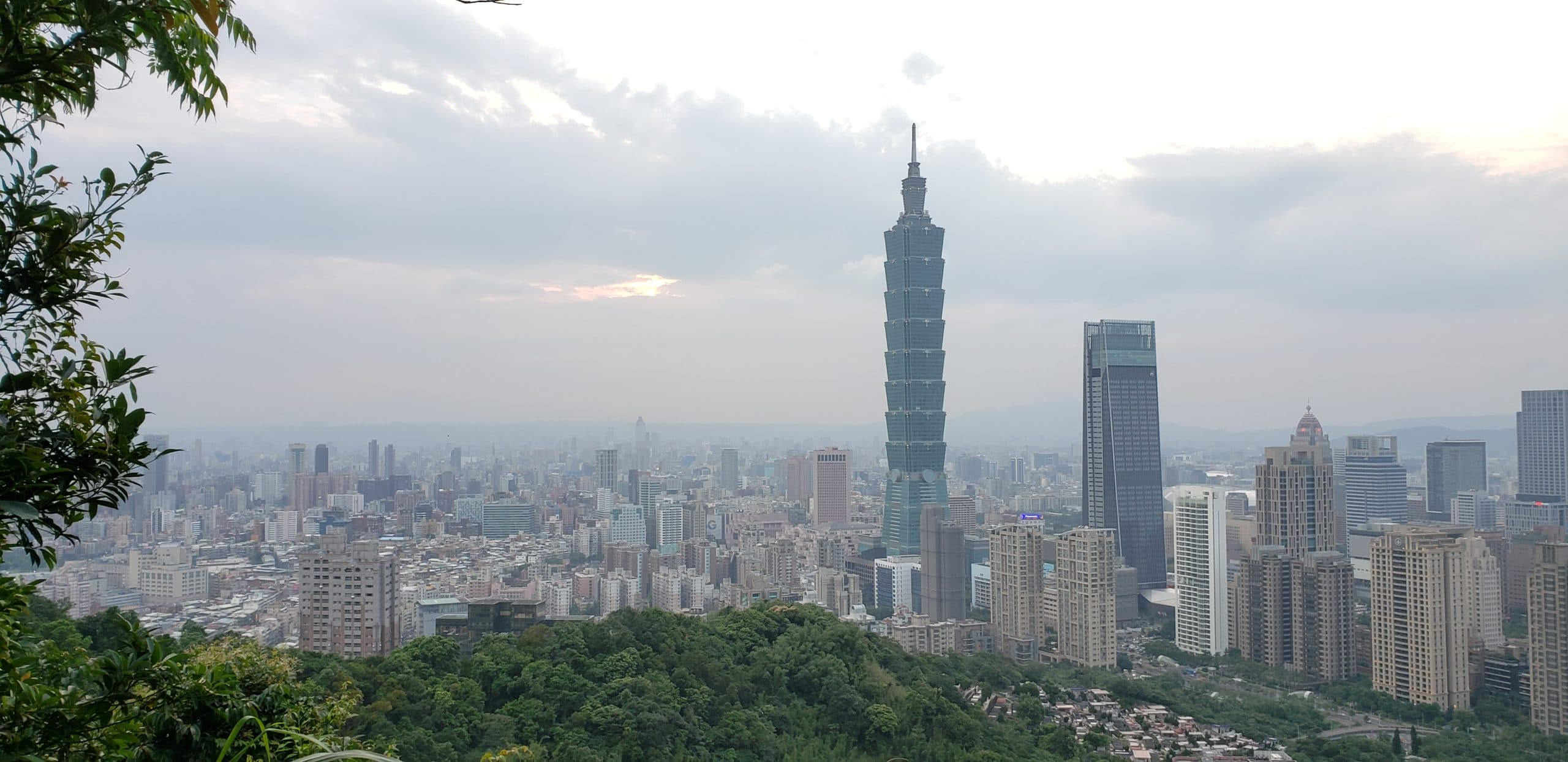 Taipei 101 Building and city of Taipei from the top of Elephant Mountain