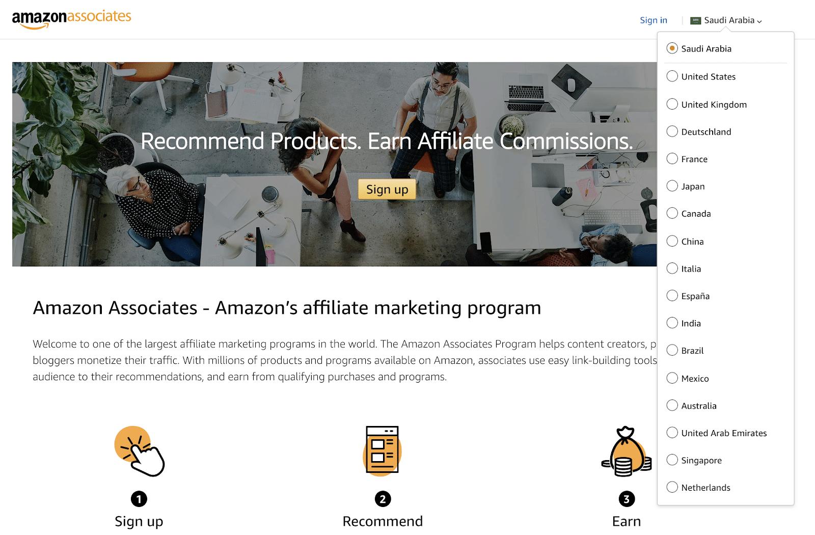 Amazon Saudi Arabia Affiliate Program Homepage.