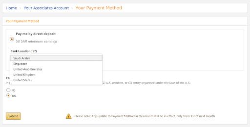 Amazon Saudi Arabia Affiliate Program Payment Method.